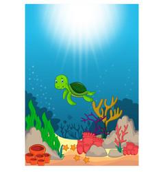 turtle in beautiful underwater world cartoon vector image