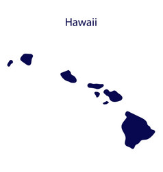 united states hawaii dark blue silhouette the vector image