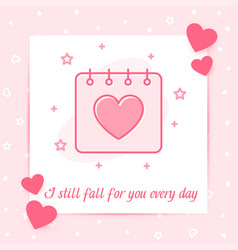 Valentines day february calendar heart love text vector