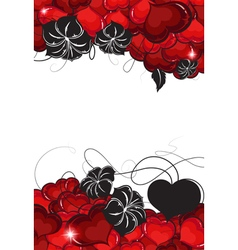 Valentines Day hearts and flowers silhouettes vector image