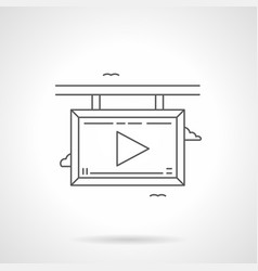 Video screen flat line icon vector