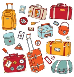 Vintage suitcases set travel vector