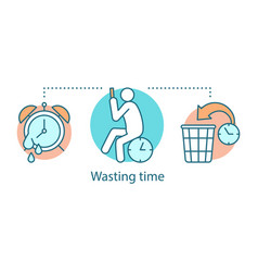 Wasting time concept icon vector