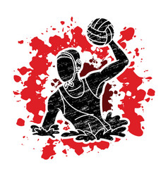 water polo players action cartoon graphic vector image