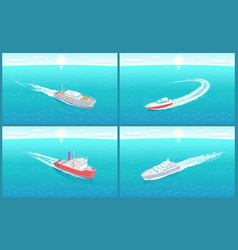Water transport cruise liners yacht set vector