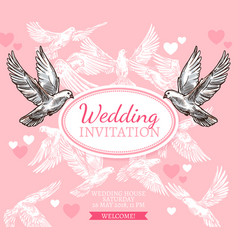 White dove sketch poster of wedding invitation vector