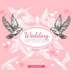 white dove sketch poster wedding invitation vector image