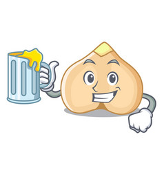 with juice chickpeas mascot cartoon style vector image