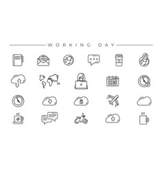 working day concept line style icons set vector image