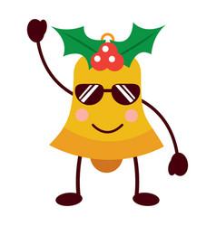 kawaii christmas jingle bell with sunglasses vector image vector image