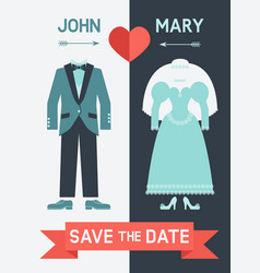 save the date card with bride dress and groom suit vector image