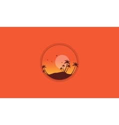 Silhouette of palm and many bird scenery vector