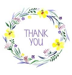Thank you card with watercolor floral bouquet vector image vector image