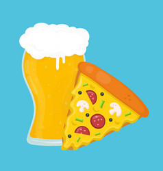 beer and pizza flat cartoon vector image vector image