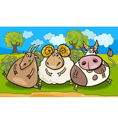 farm animals group cartoon vector image