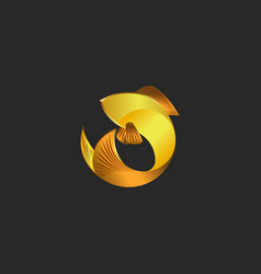 gold fish logo in the shape of a circle the vector image vector image