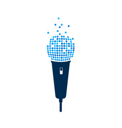 microphone logo on white background isolated mic vector image vector image