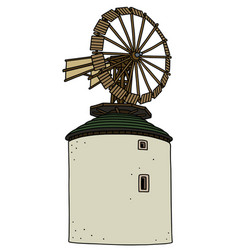 old white stone windmill vector image vector image