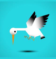 white stork flying vector image vector image