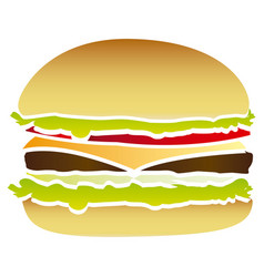 colorful picture hamburger food fast icon vector image