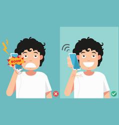 do not phone call in charging battery vector image vector image