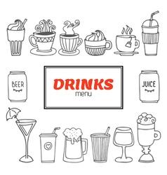 Drinks and beverages hand drawn set Drinks menu vector image