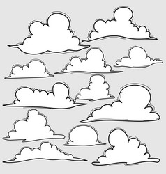 hand drawn clouds set vector image vector image