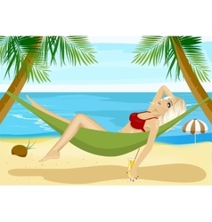 young blonde relaxing in hammock on beach vector image vector image