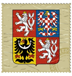 Coat of arms of Czech Republic on postage stamp vector image
