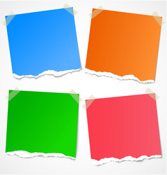 Colorful torn paper stickers notes and reminders vector image vector image