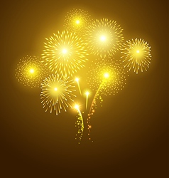 Festival golden fireworks on dark background vector image vector image