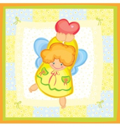 greeting card of cute angel vector image vector image