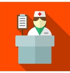 Hospital reception desk flat icon vector image