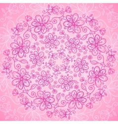 Pink vintage doodle flowers background vector image