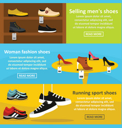 Shoes fasion banner horizontal set flat style vector