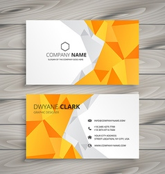 Abstract polygonal yellow business card vector