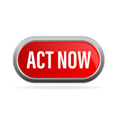 Act now in 3d style on red background click icon vector
