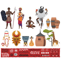 african ethnic tribe people tribal elements vector image