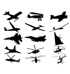 Airplanes helicopters vector