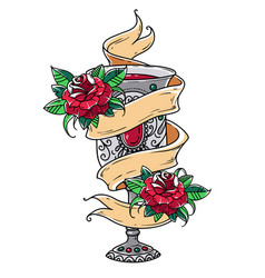 Ancient silver goblet with red wine and roses vector