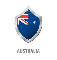 australia flag on metal shiny shield vector image