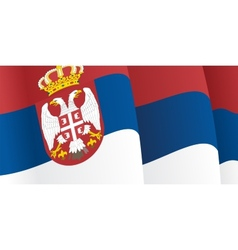Background with waving Serbian Flag vector