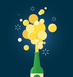 Beer gushing from bottle vector