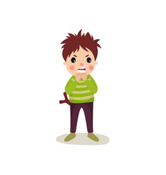 Boy with angry face standing with slingshot in vector