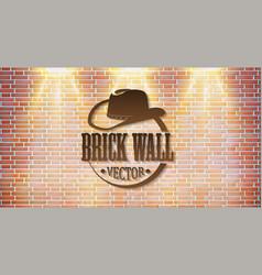 brick wall with bright light retro logo vector image