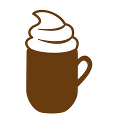Brown mug cappuccino with cream vector