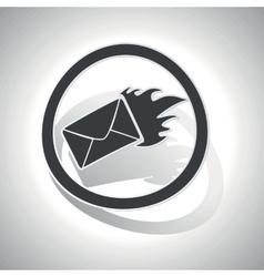 Burning envelope sign sticker curved vector