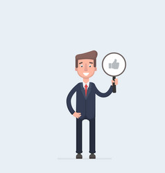 Business man with thumbs up icon isolated on white vector