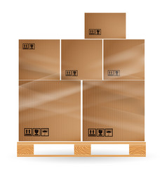 cardboard boxes with cargo stacked on a wooden vector image