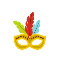 Carnival mask with feathers icon flat style vector